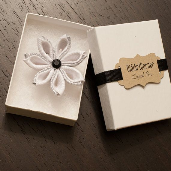 Flower Lapel Pin / White and Luxe Silver Kanzashi by DidiArtCorner
