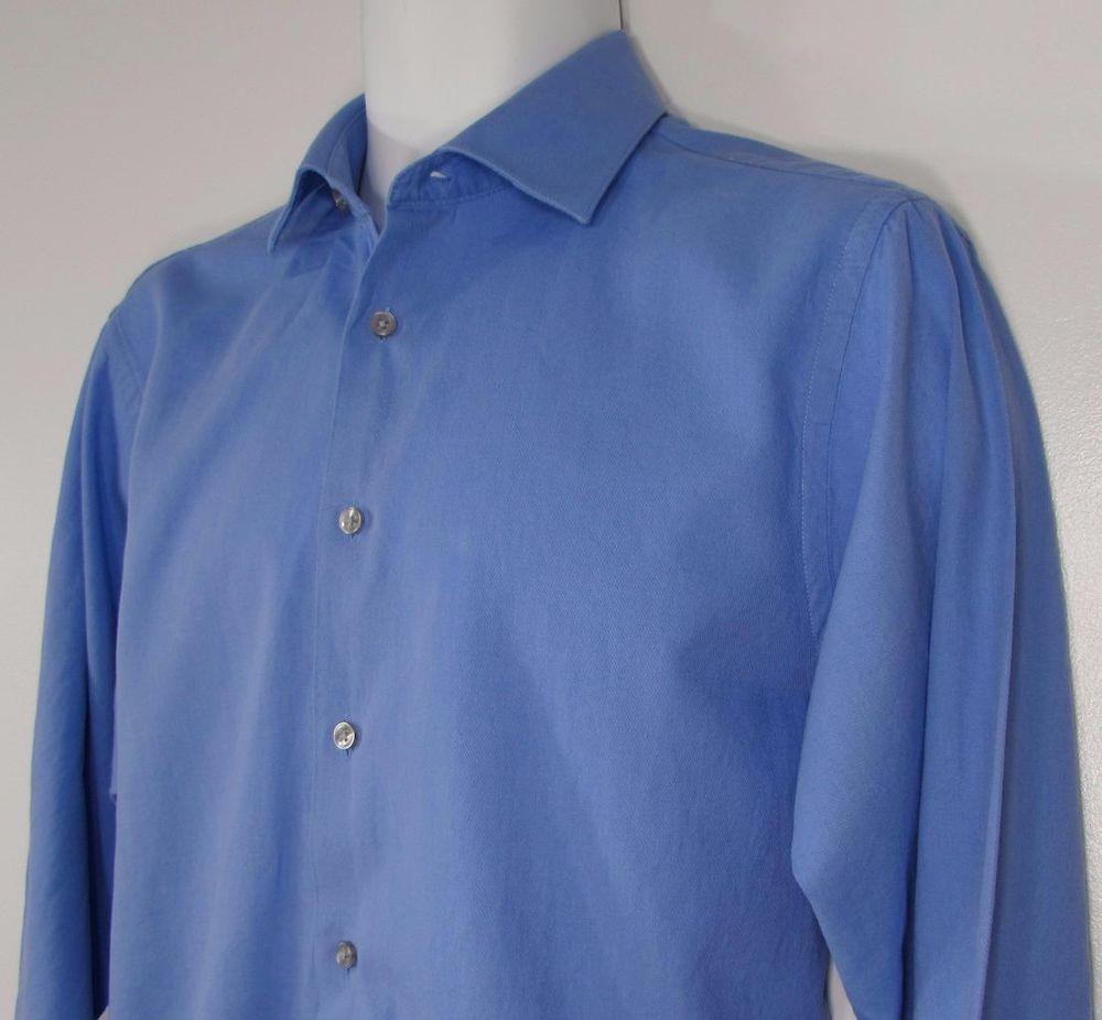 Men Calvin Klein Dress Shirt Regular Fit Blue 100 Cotton Sz 15 12