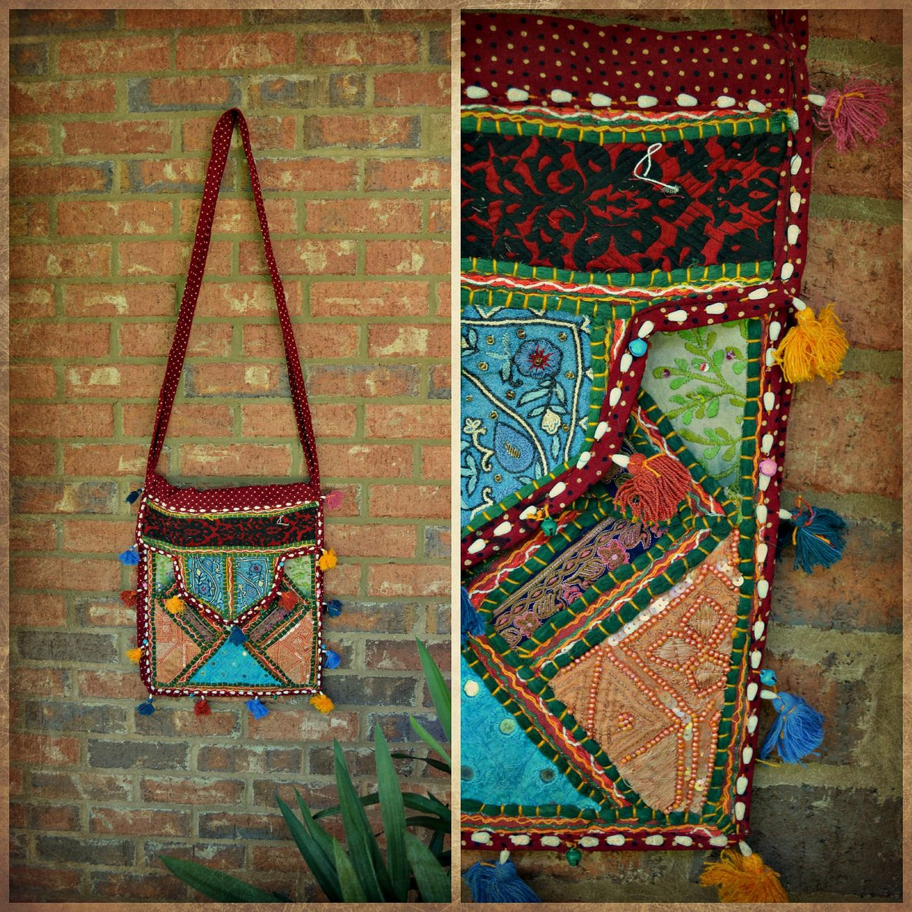 Handmade Crossbody Bag from India With Shells (Large Dark Red Multi)