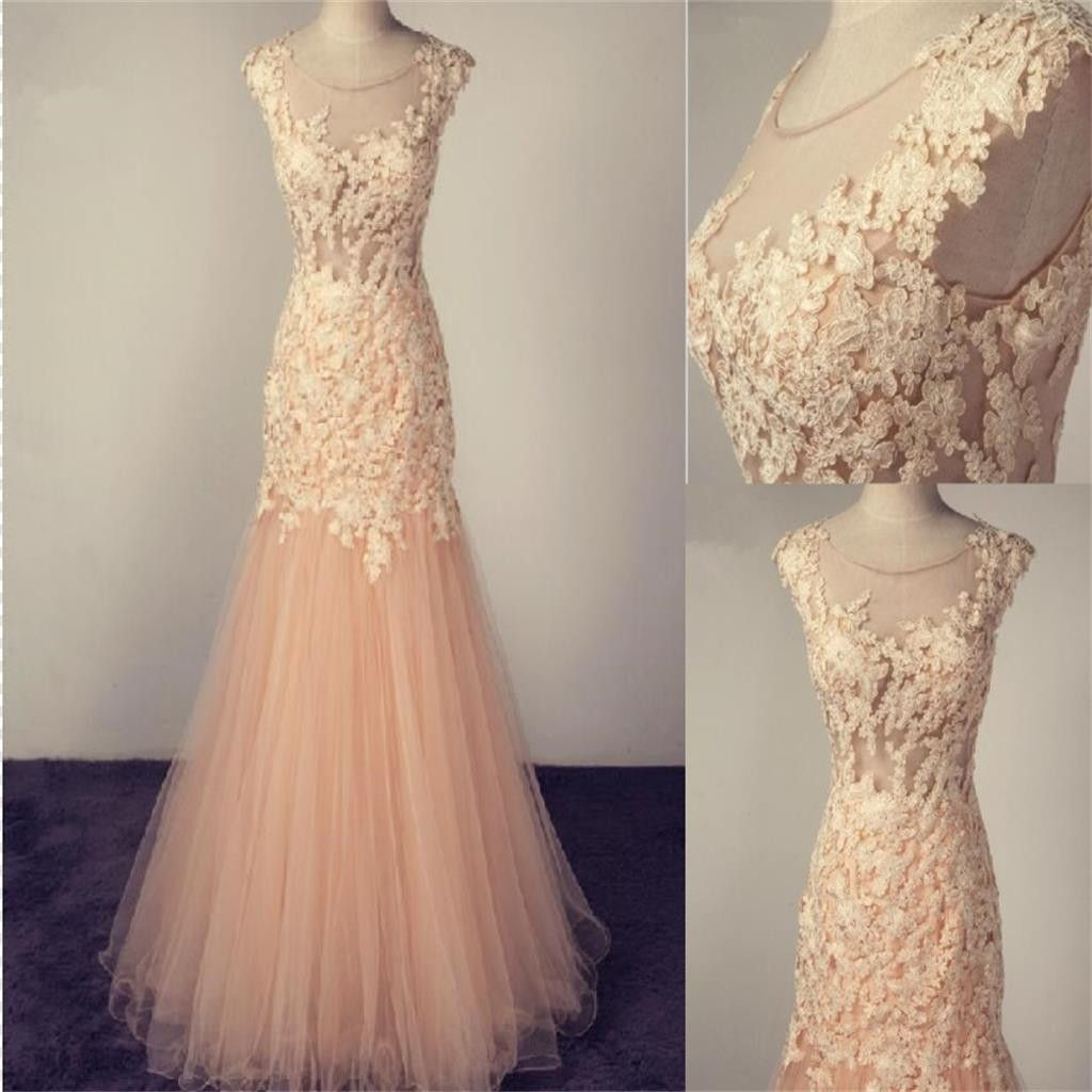 Pale pink scoop tulle prom dress with lace appliquescharming