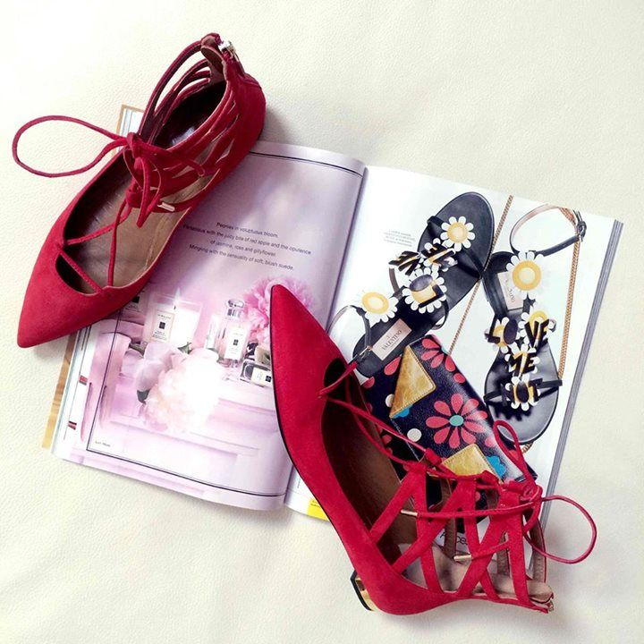 Checkout this moment from ModeSens's closet for Belgravia Suede Point-Toe Lace-Up Flats by AQUAZZURA!