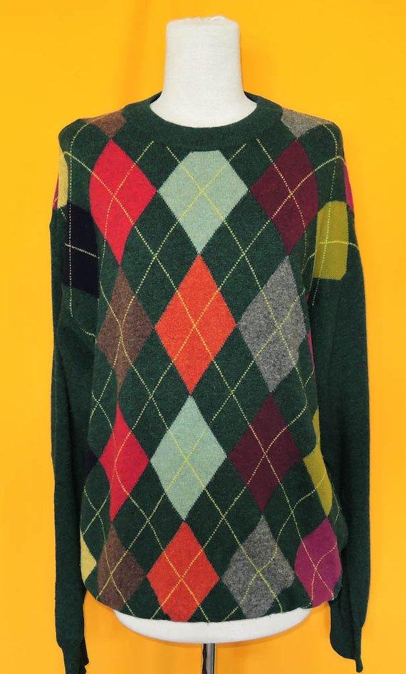 606e16107f United Colors Of Benetton Wool Knit Sweater Plaid Pattern Green Vintage  Designer Winter Crew Neck Ju