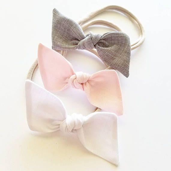 Juego de diademas de nylon : lazos para bebés Ella, diademas para bebés, clips para el cabello #babyhairaccessories
