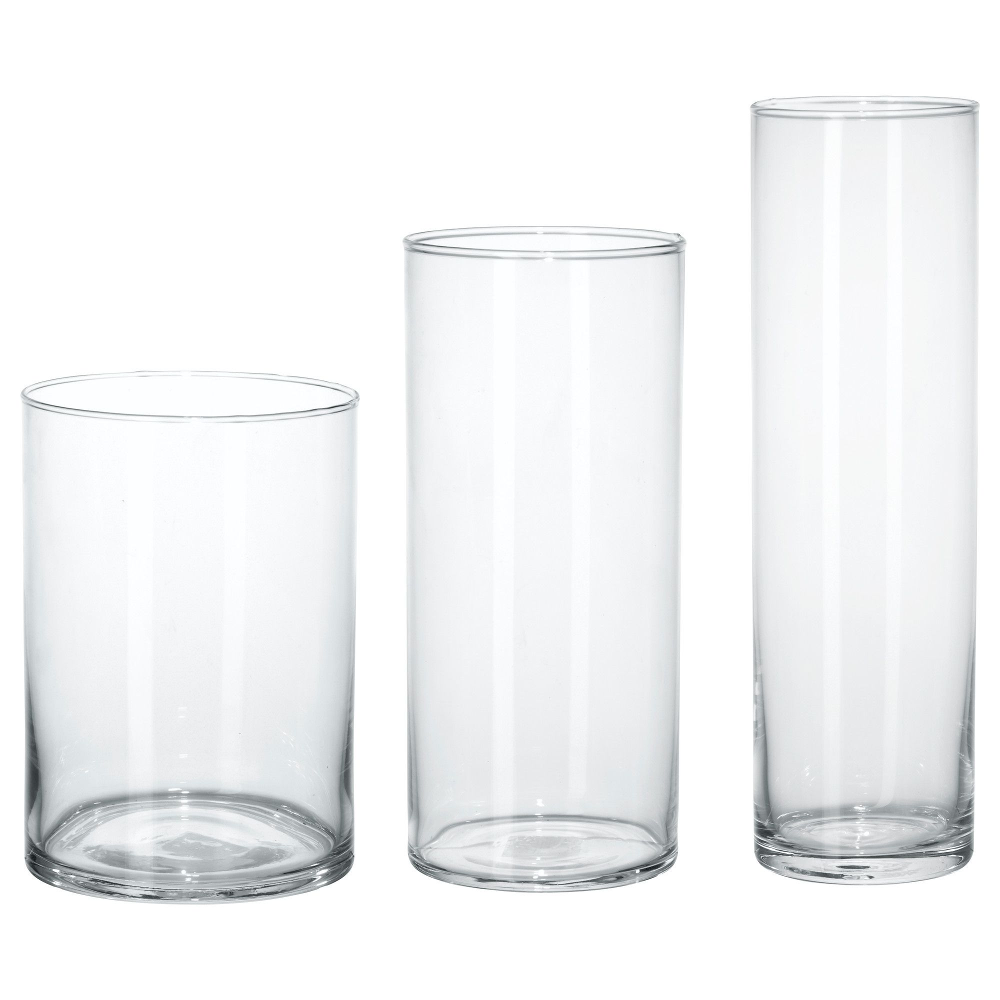 CYLINDER Vase set of 3 clear glass