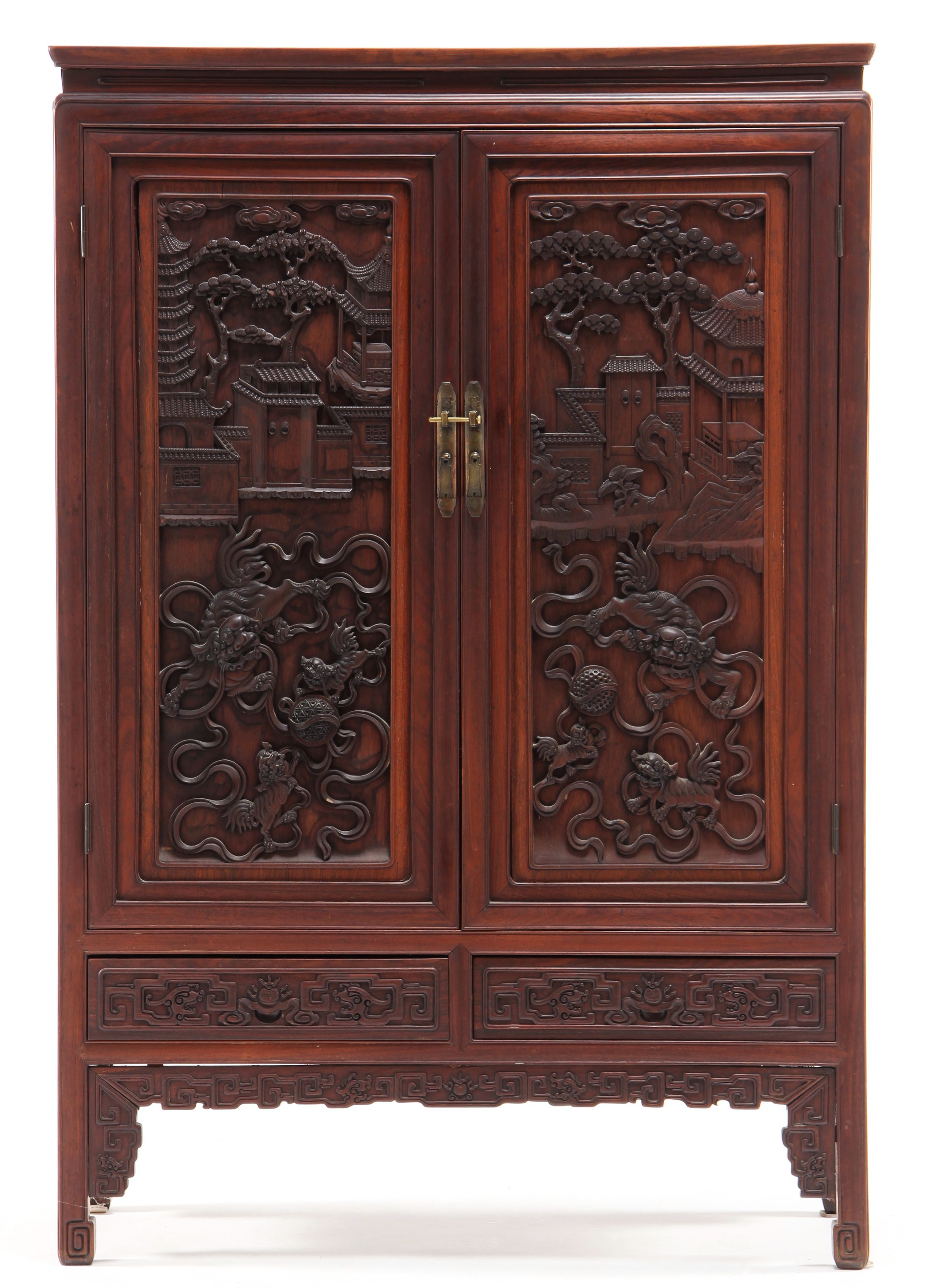 Chinese Carved Hardwood Cabinet Sold 9 000 Antique Chinese