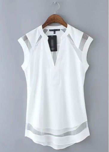 White Cap Sleeve V Neck Chiffon Blouse With Sheer Mesh Insert ...