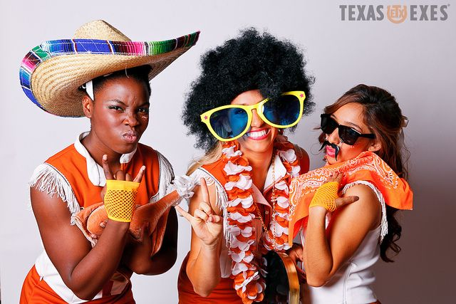 Photobooth at the Texas Exes tailgate at the Etter-Harbin Alumni Center.