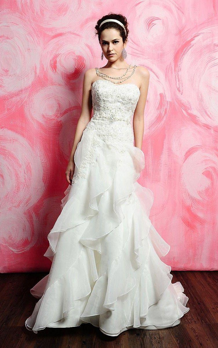 Pretty Mermaid Floor-length Strapless Silver Organza Dress CA$196 ...