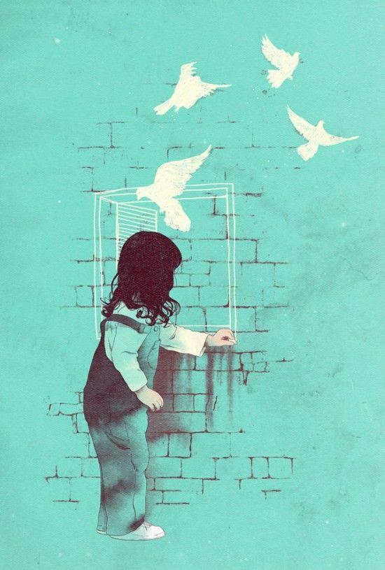 """"""" Pour faire le portrait d'un oiseau""""   A way-out,  Matheus Lopes, mixed media"""