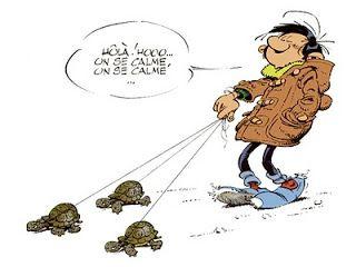 Guust Flater (Gaston Lagaffe) aan de wandel met schildpadjes