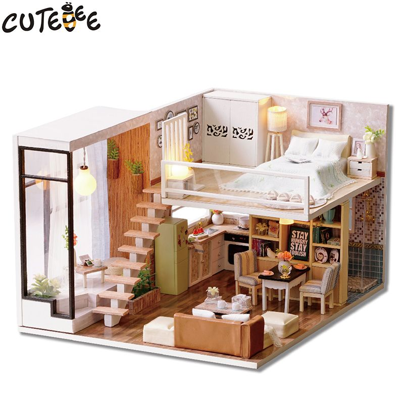$54.8   Cool CUTEBEE Doll House Miniature DIY Dollhouse With Furnitures  Wooden House Waiting Time Toys