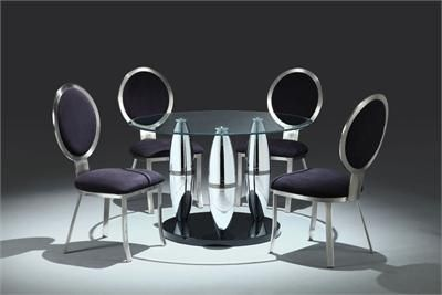 Anzu Modern Chrome Round Glass Dining Table Set Glass Dining Table Set Glass Round Dining Table Glass Dining Table