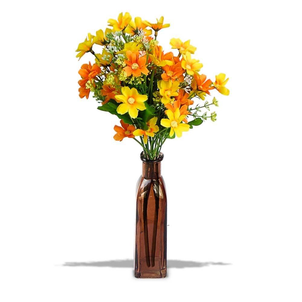 Arranjo De Flores Artificiais Margarida Para Decoracao Com Garrafa