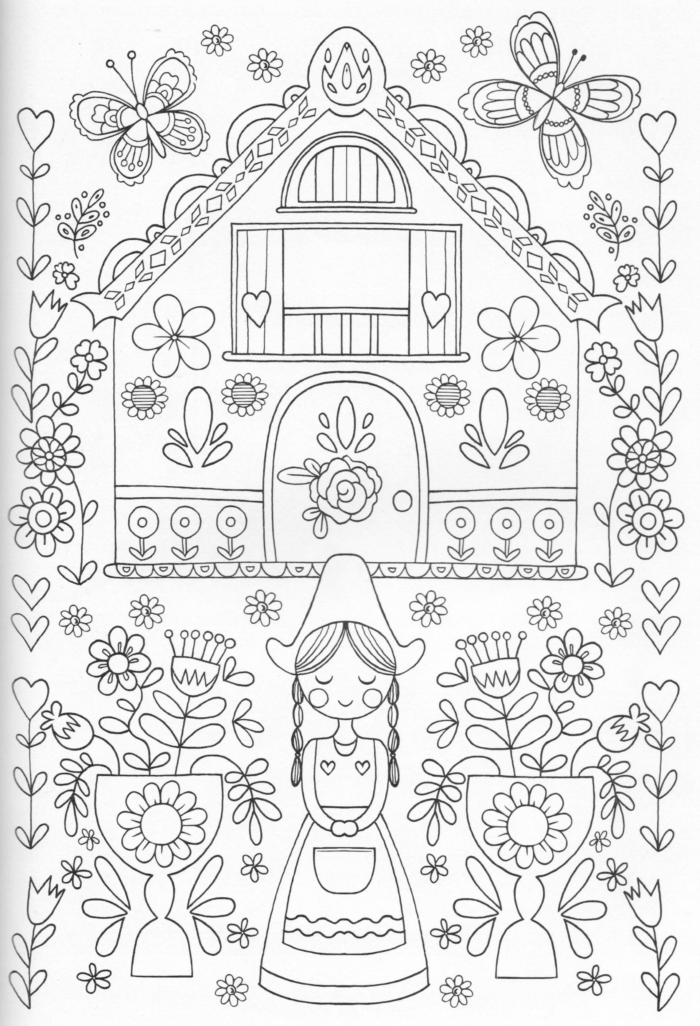 Scandinavian Coloring Book Pg 25 Coloring Page House Door