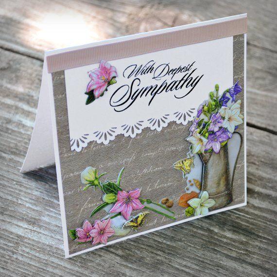 Handmade Deepest Sympathy Purple Flower Bouquet Condolence Card