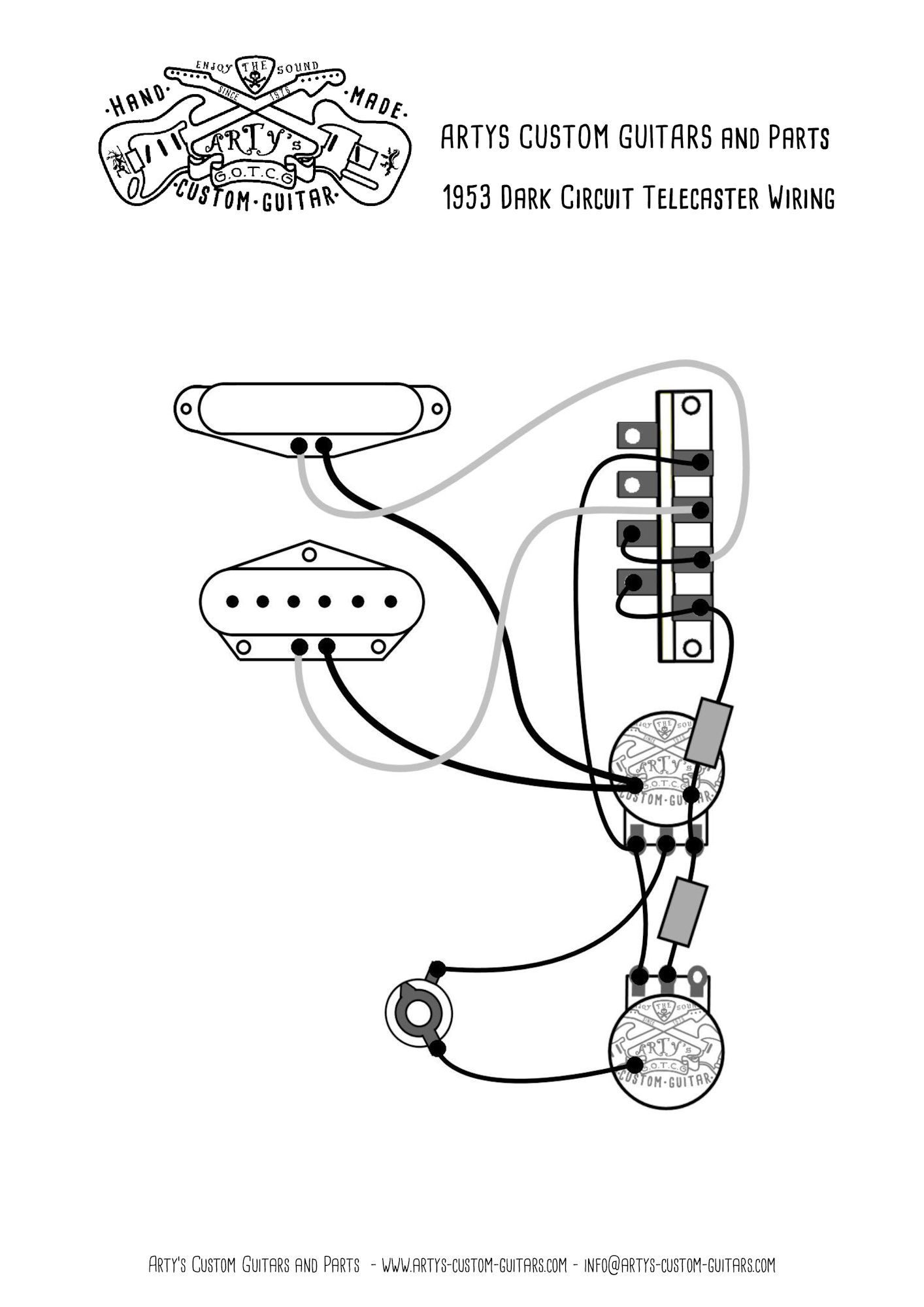 Artys Custom Guitars Wiring Diagram Dark Circuit 1953 Control Electric Guitar Plateplan Telecaster Assembly Harness Tele