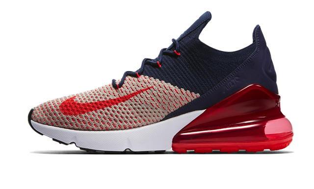 39c146edb3e81 Nike Air Max 270 Flyknit Women s Shoe in Moon Particle College  Navy Blackened Blue Red Orbit.
