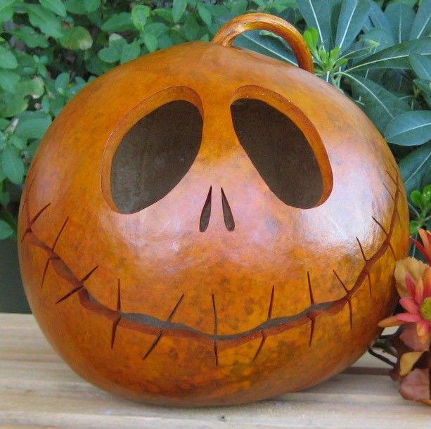 Halloween Gourd Jack-O-Lantern (Inspired by Tim Burton). $26.00, via Etsy.