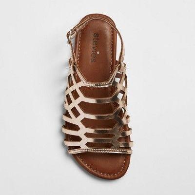 f2f9a2b8d58f Girls  Stevies  crisscross Caged Cut Gladiator Sandals - Gold 13 ...