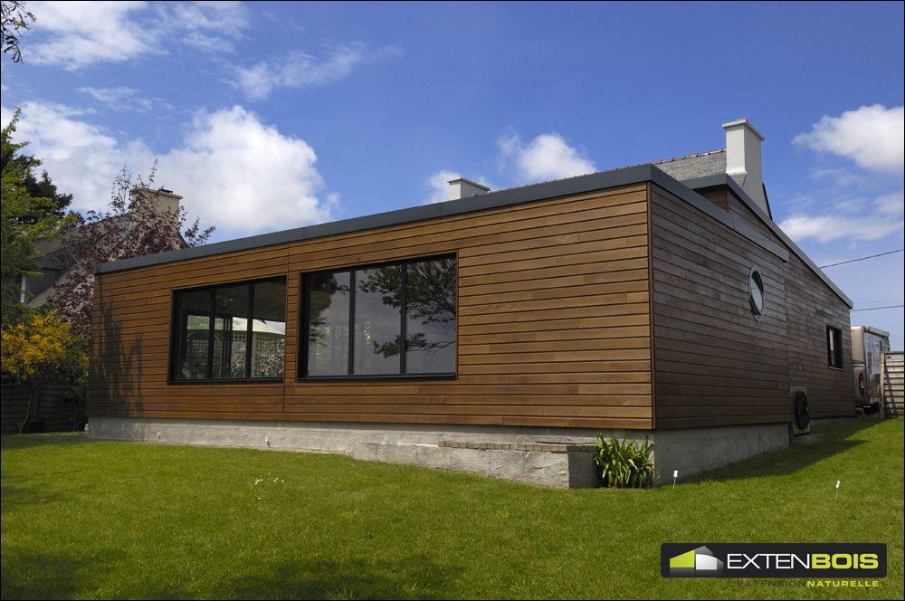 Vue de l 39 arri re de notre extension de maison en bois cr e sur mesure extenbois pinterest for Maison bois sur mesure