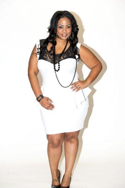 New Plus Size White Peplum Dress With Black Lace Top 1x 2x 3x