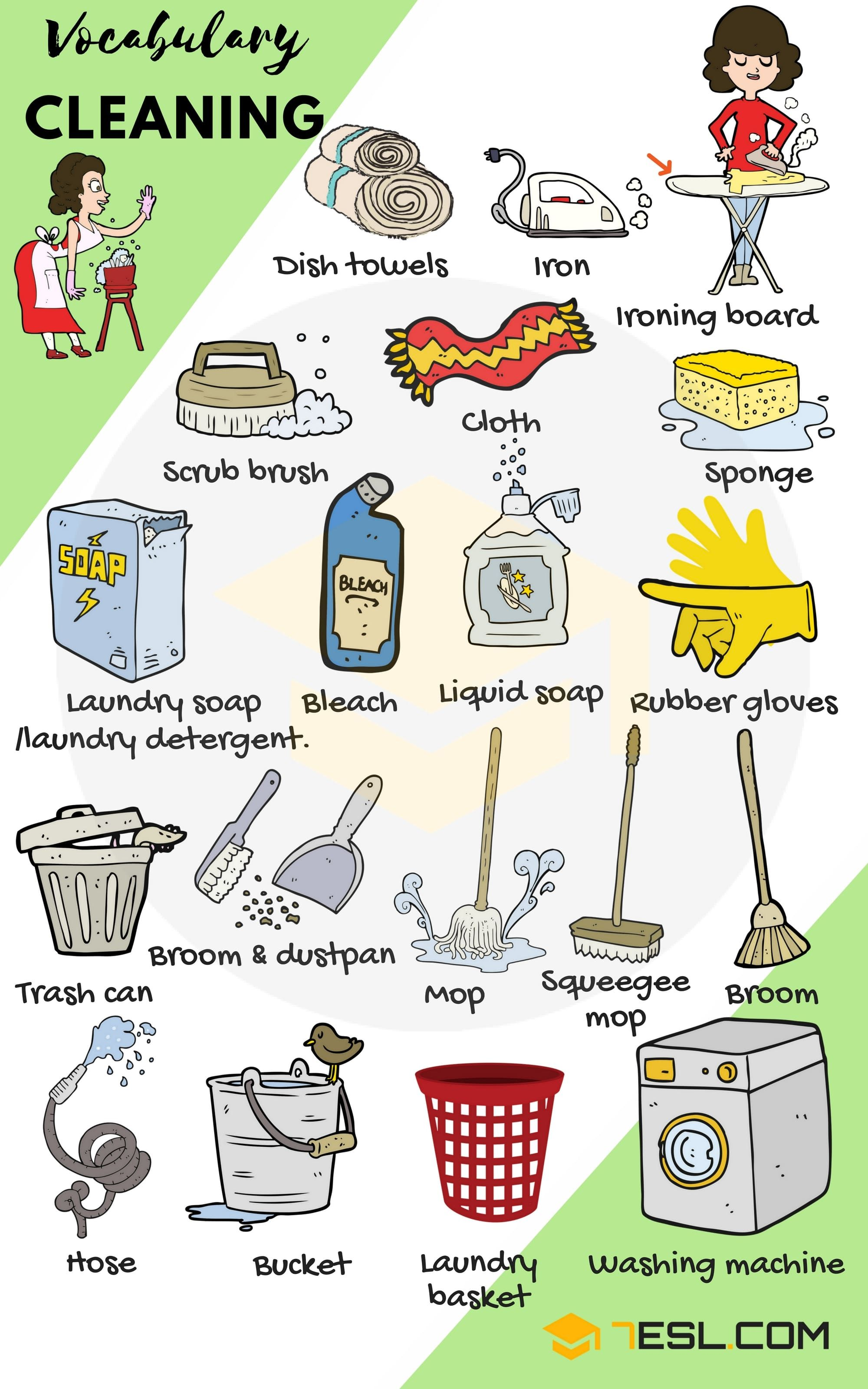 Cleaning Supplies List Of House Cleaning Amp Laundry Vocabulary