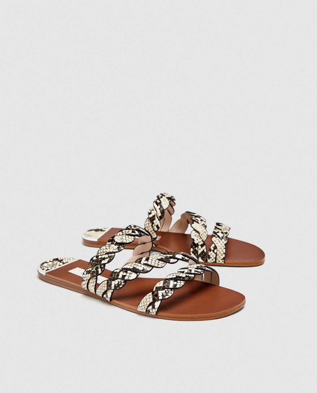 45cd7c05169e8c Image 5 of SANDALS WITH BRAIDED ANIMAL PRINT STRAPS from Zara ...