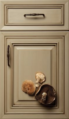 Painted Cabinet Colors living room wall color is sage green, mushroom/tan in the hallway