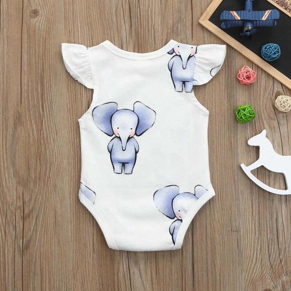 347bb88670 Pollyhb Baby Romper Newborn Kids Elephant Print Boys Girls Outfits Romper  Jumpsuit 06Months White     To view better for this product