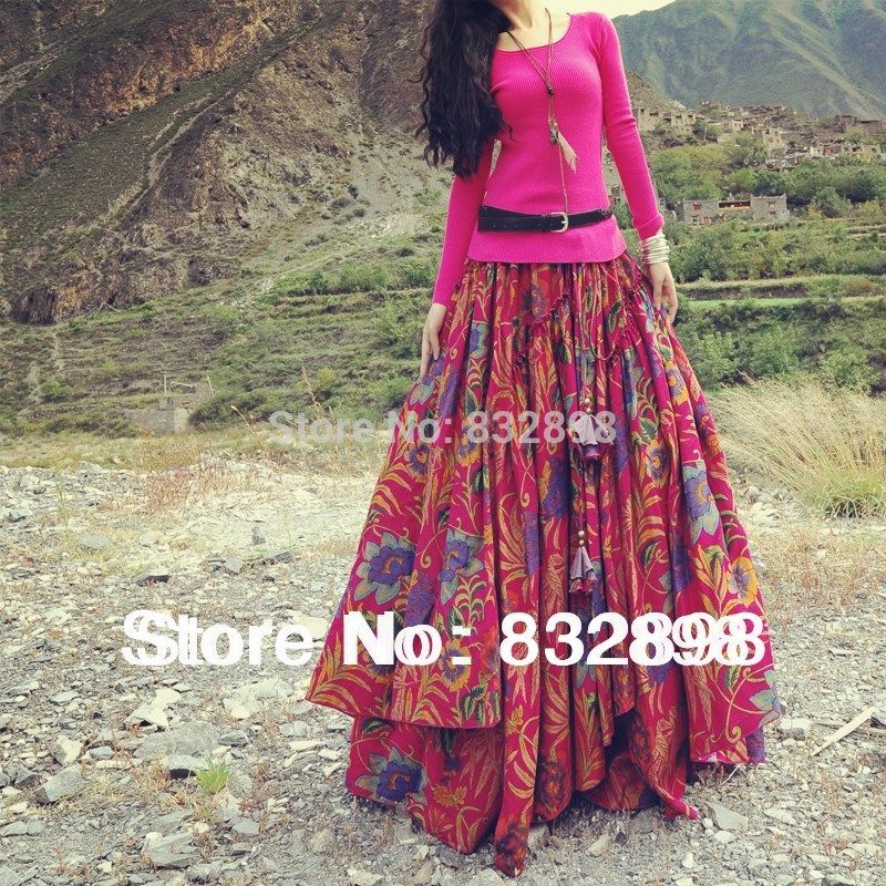 ef38549085 New Fashion Top Sale Long Flowing Thick Cotton Multicolor Print Skirts  Bohemia Style Ethnic Print Linen Skirt