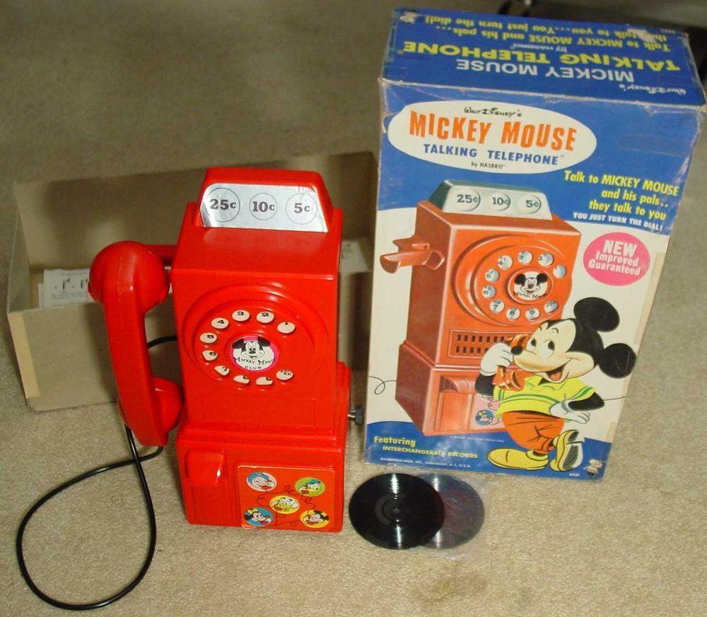 ffaa1bb21c972a Vintage Disney Hasbro Mickey Mouse Talking Pay Telephone Phone 1964 ...