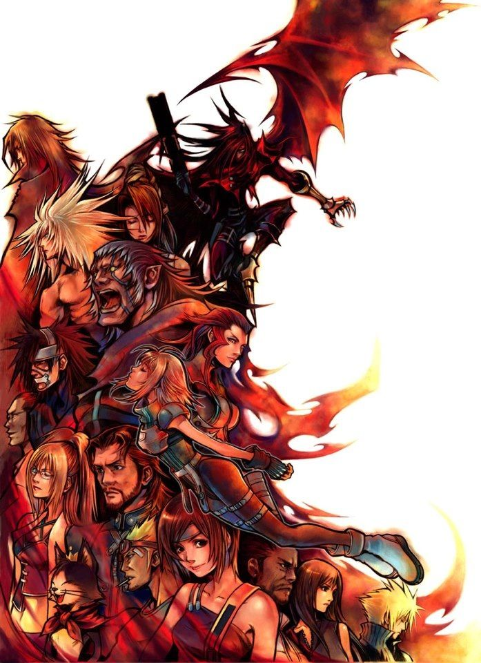 Vincent Valentine, Lucrecia, Weiss The Immaculate, can't remember, Nero The Sable, Rosso Crimson, Hojo, Shelk Rui, can't remember, Reeve Tutsi, Cait-Sith, Cid Highwind, Yuffie Kisaragi, Barret Wallace, Tifa Lockhart and Cloud Strife. Official art. Final Fantasy VII: Dirge Of Cerberus.
