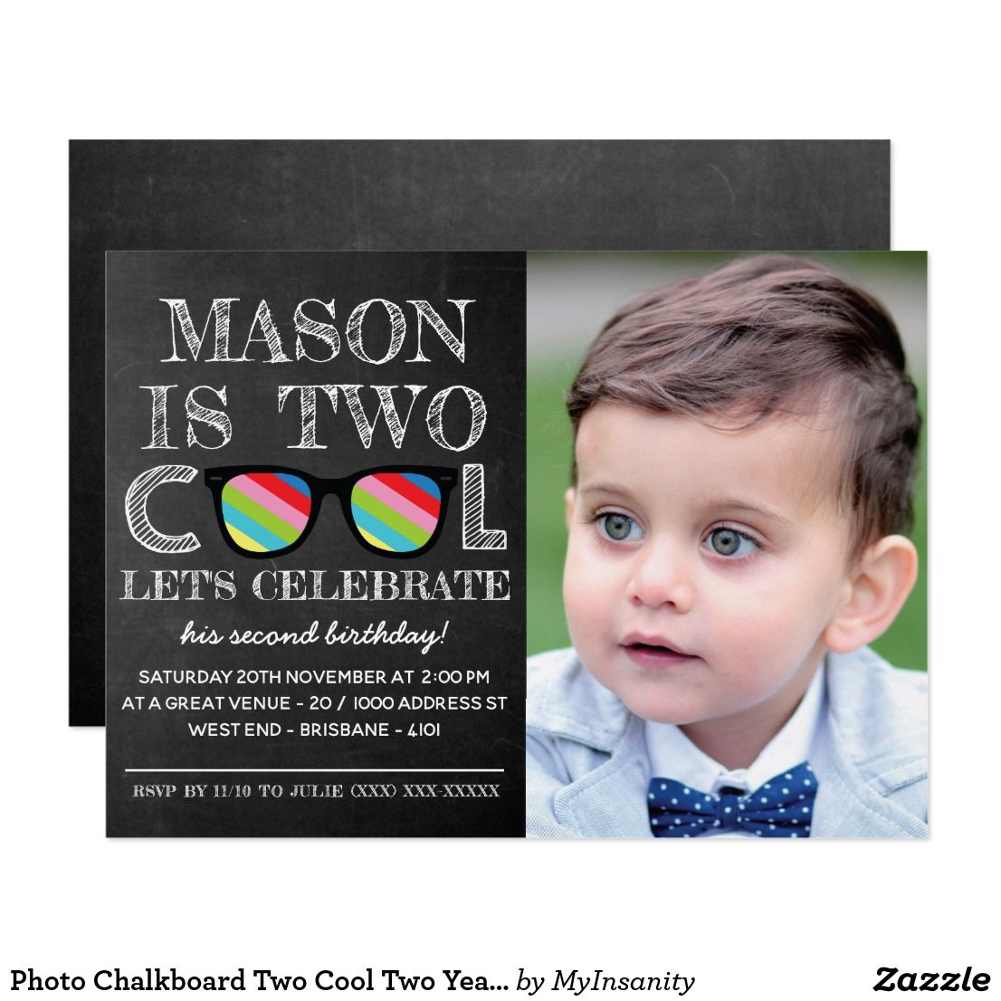 Photo Chalkboard Two Cool Years Old Birthday Invitation Your Toddler Is Turning For School His Celebration Will Have