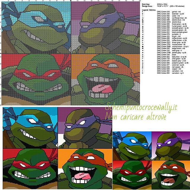 Ninja Turtles schemi gratis punto croce 200x150 31 colori | Alpha ...