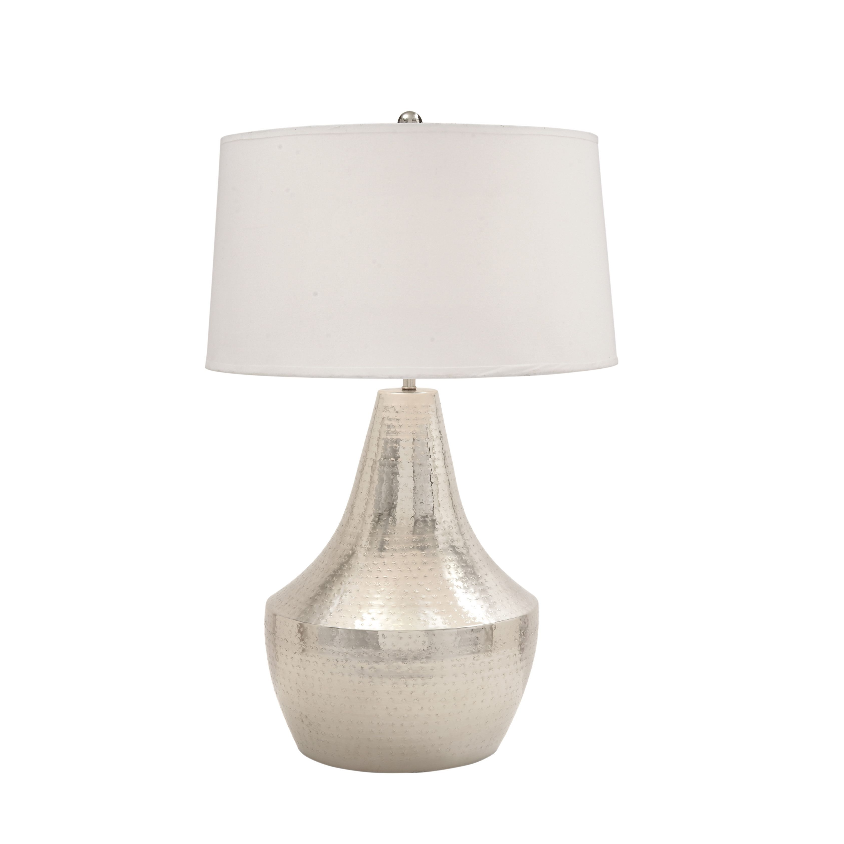 Studio 350 Metal Hammered Table Lamp (Chrome Silver) (Fabric)