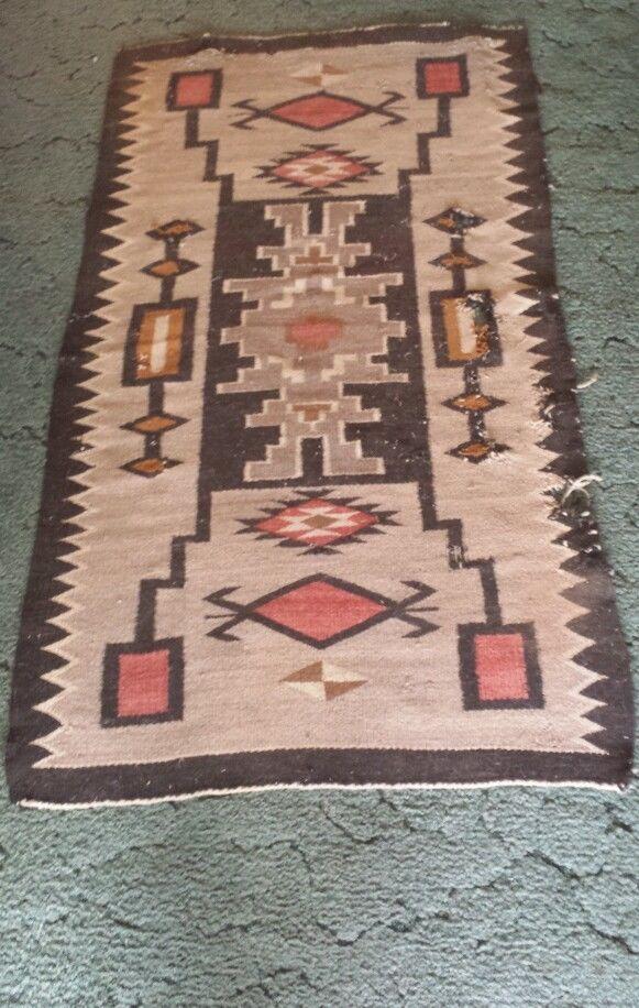 Antique Navajo Rug Storm Pattern 1920s 30 X 54 1 2 In