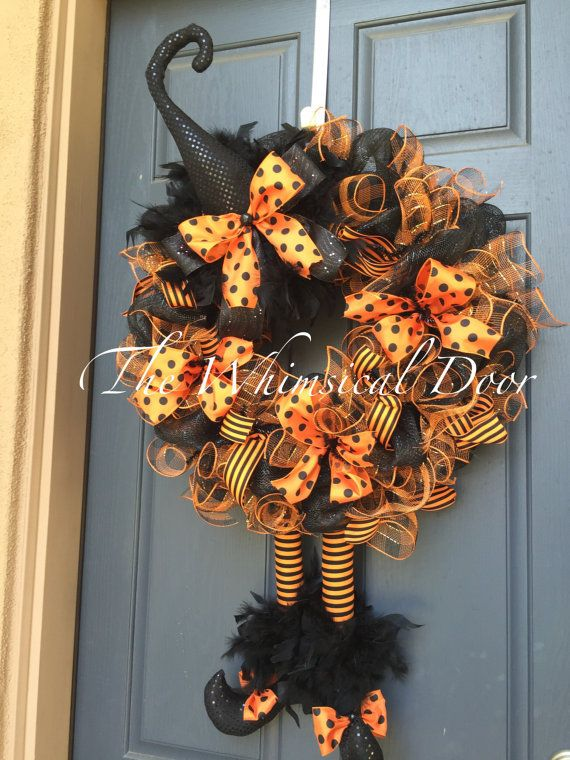 Halloween wreath Witch Wreath Witch Hat and Boots Halloween