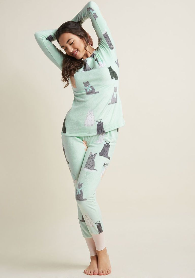 5bdab66739fc0 Feline Cozy Long Sleeve Pajamas in 2X   Products   Long sleeve ...
