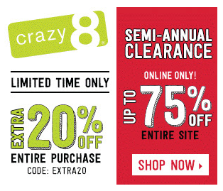Crazy 8 up to 75 off extra 20 off coupon code kids stuff crazy 8 up to 75 off extra 20 off coupon code fandeluxe Choice Image