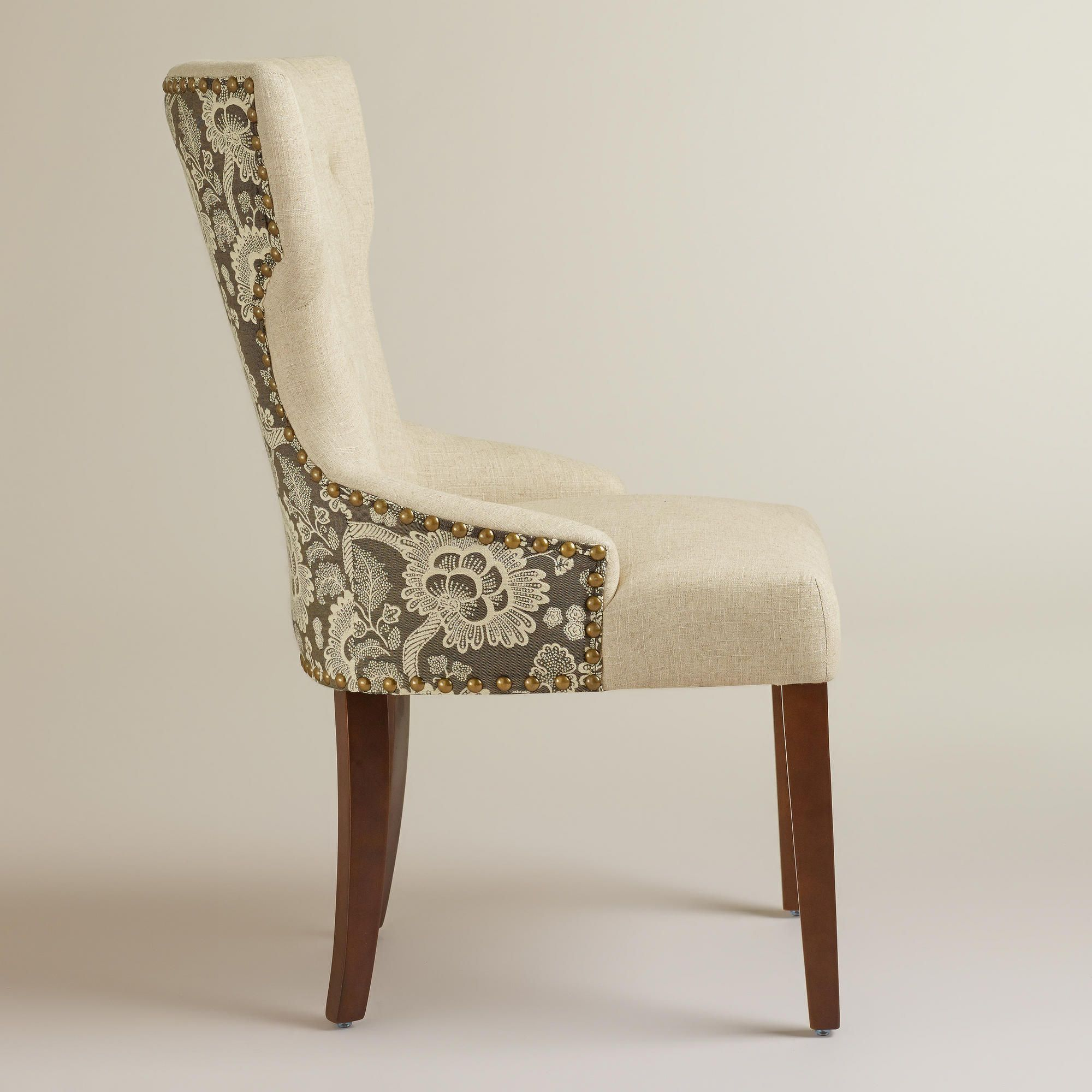 Black Floral And Linen Maxine Dining Chair World Market Dining