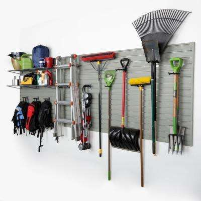 Modular Garage Wall Panel Storage Set With Accessories In Silver