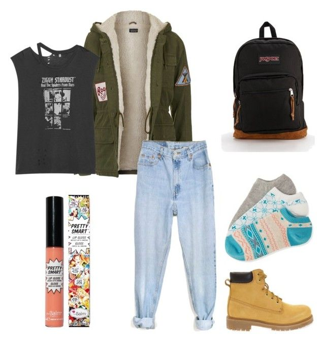 """""""tomboy street style"""" by alyssa-frank00 ❤ liked on Polyvore featuring Docksteps, Topshop, R13, Levi's, Aéropostale, JanSport, TheBalm, women's clothing, women and female"""