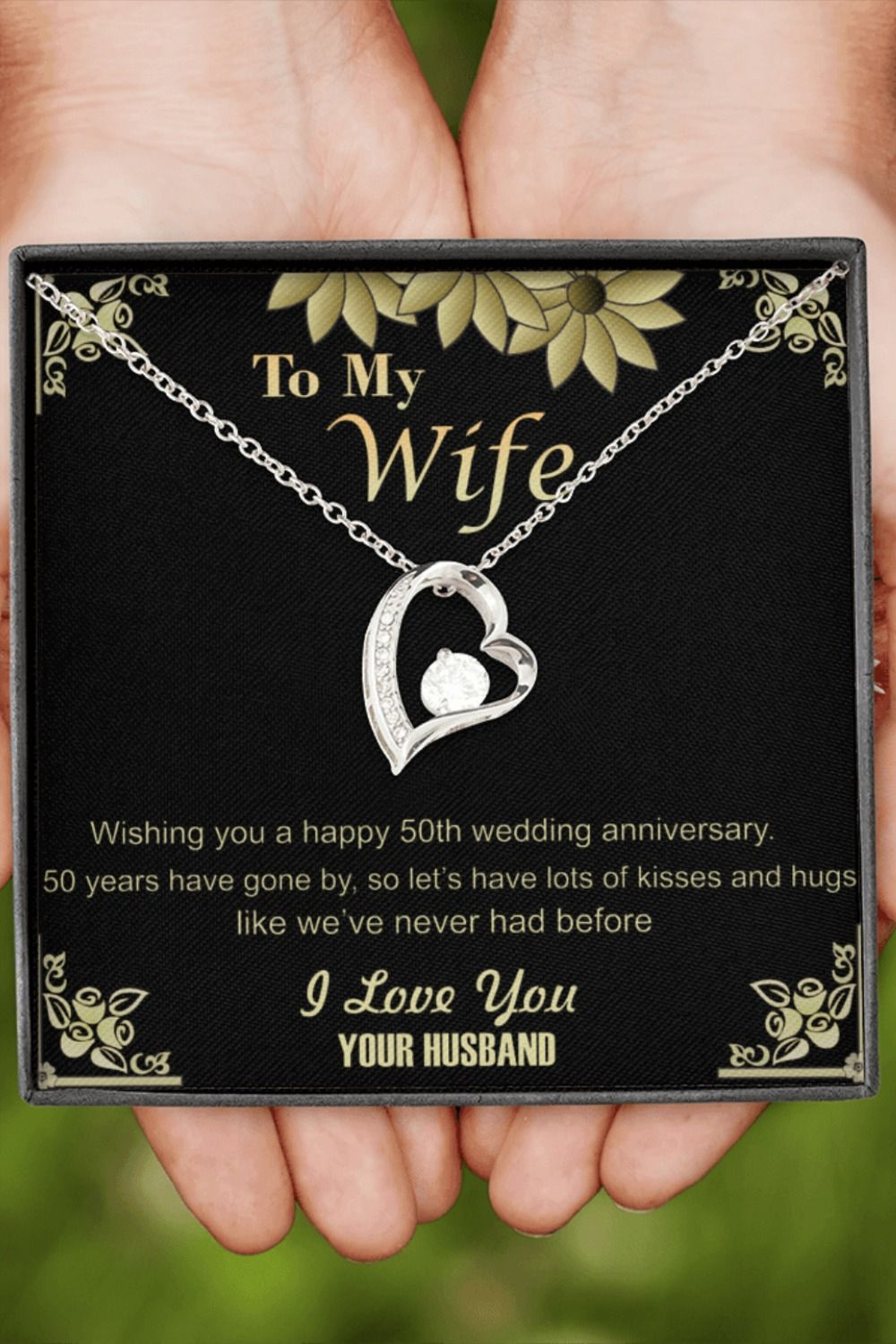 50th Golden Wedding Anniversary Wishes Quotes On Necklace