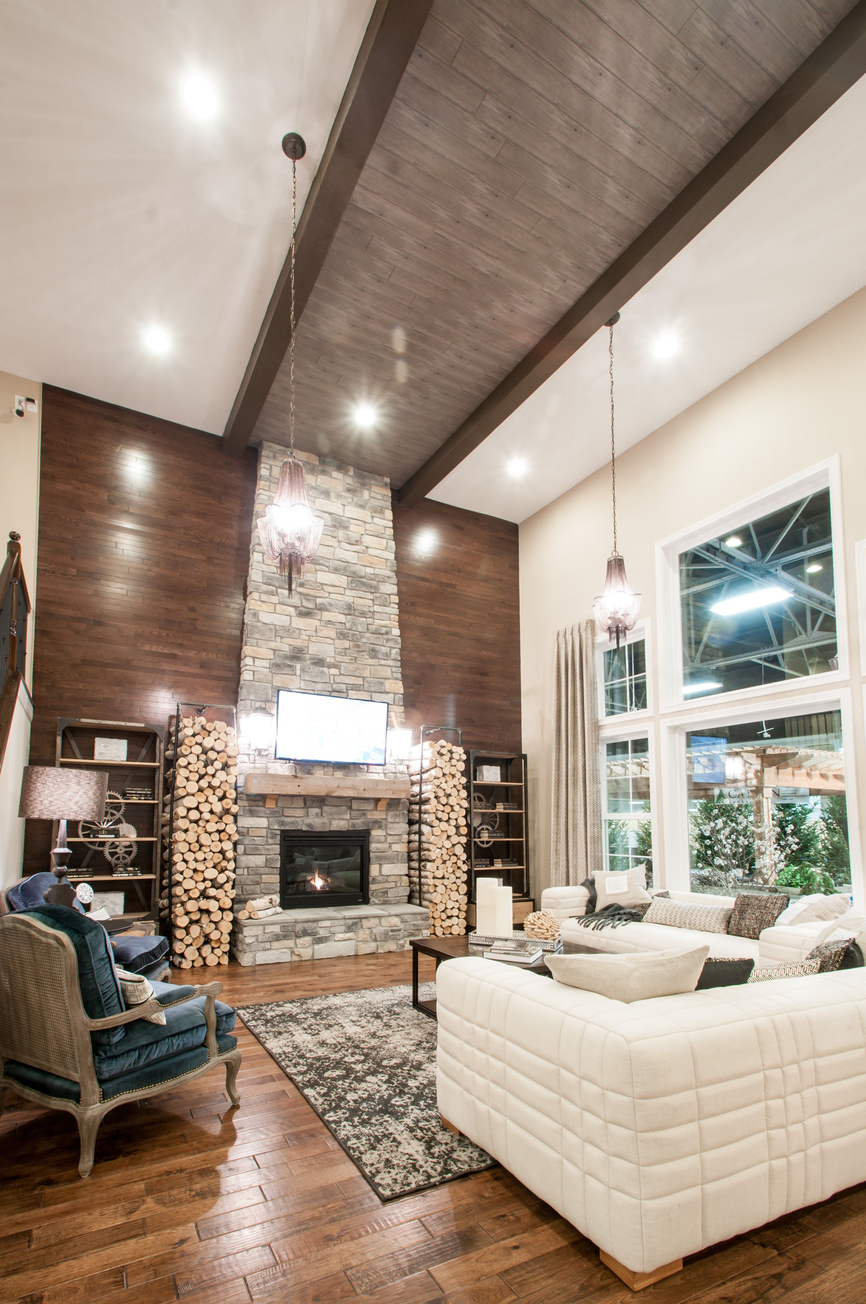 Stunning ceiling design and brick fireplace surround - Indianapolis ...