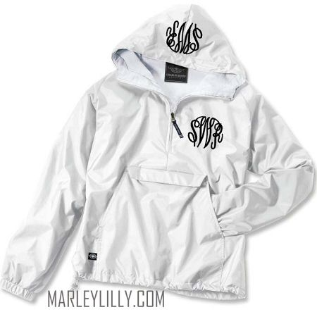Monogrammed White Pullover Rain Jacket! Size L Would love green ...