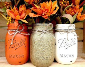 Set Of 4 Fall Mason Jars Autumn Home Decor By MidnightOwlCandleCo