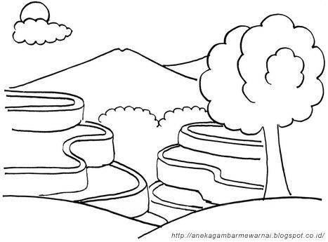 Gambar Mewarnai Pemandangan Alam Untuk Anak Paud Dan Tk Aneka Gambar Mewarnai Buku Mewarnai Sketsa Gambar