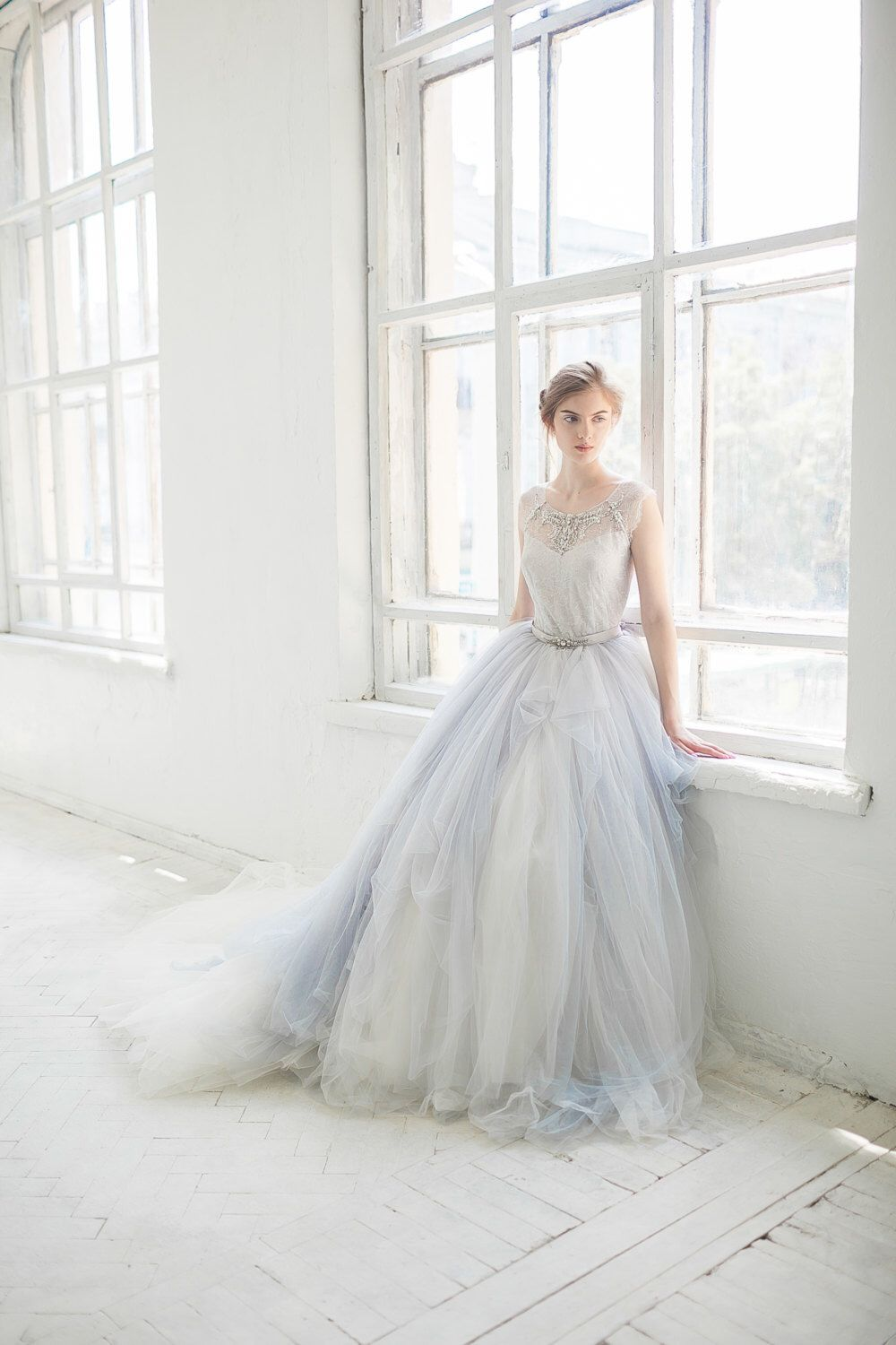 Tulle wedding gown gardenia icy gray wedding dress silver grey
