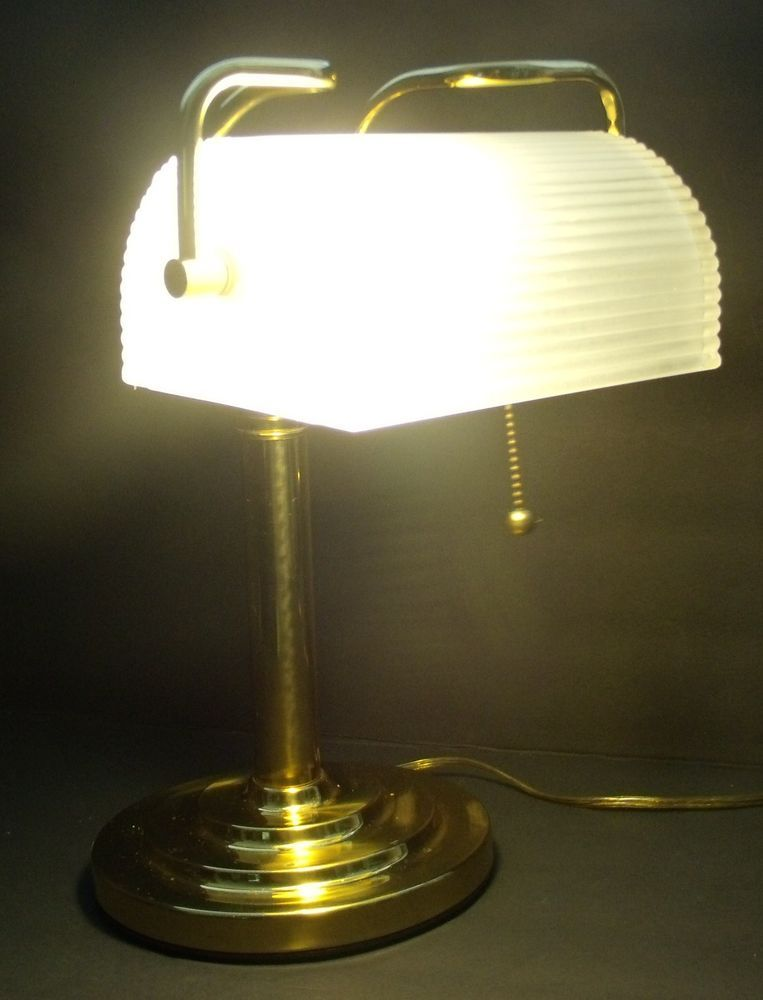 Vintage Brass & Glass Writer's Desk Lamp Underwriters