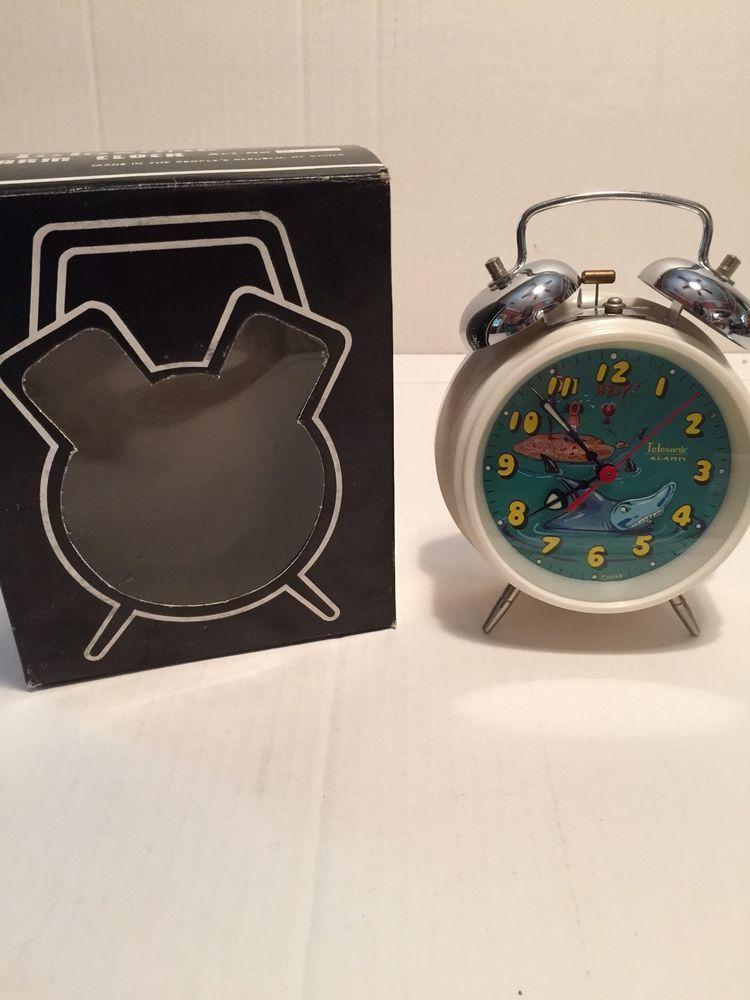 Vintage 1970 S Animated Telesonic Clock Nib Shark Jaws Move Bell